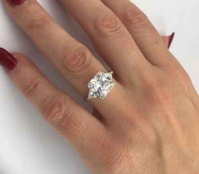 Engagement wedding princess Created Diamond Ring Real 100% 925 Sterling Silver