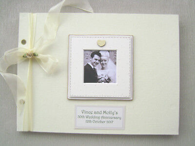 PERSONALISED LINEN 50th wedding anniv GUEST BOOK A4 SIZE WITH BOX..PHOTO INSERT