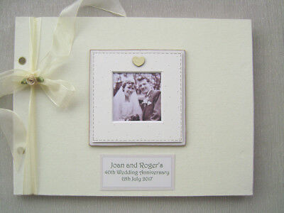 PERSONALISED LINEN 40th wedding anniv GUEST BOOK A4 SIZE WITH BOX..PHOTO INSERT