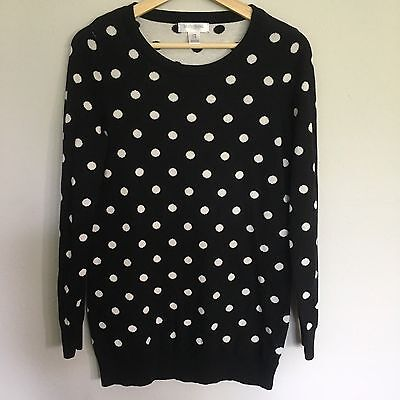 Women's Motherhood Maternity Black and White Polka Dot Crewneck Sweater, M
