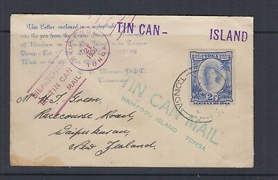 TONGA 1936 2½d Blue QUEEN on TIN CAN MAIL COVER dated JUL 21 1936