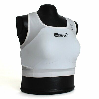 NEW SMAI WKF Approved Karate Female Breast/Body Guard - White Martial Arts Co...