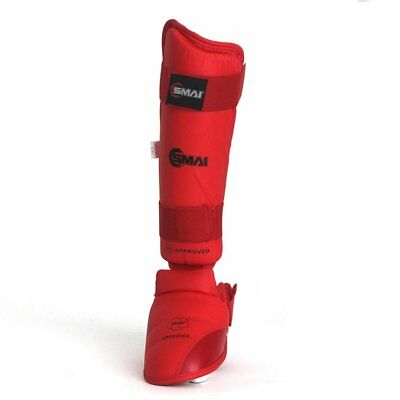 NEW SMAI WKF Approved Karate Sparring Shin Instep (Pair) - Blue, Red Fighting...