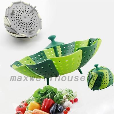 Durable Silicone Folding Steamer Basket Fruit Vegetable Plate Kitchen Tool