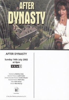 JOAN COLLINS - DYNASTY - Tyne Tees TV Promotional Postcard AFTER DYNASTY 2002