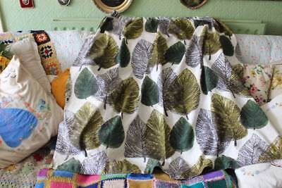 Vintage 1950's True Vintage Single Barkcloth Curtain Leaf Design Autumnal  39x50