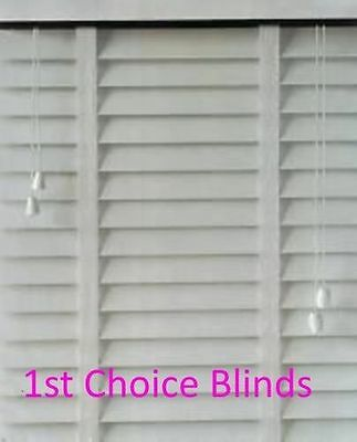 Made to Measure Faux Wood Plastic Venetian Blind White Slats with Tapes