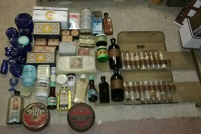 LARGE Antique APOTHECARY Medicine, Bottles and Tins Collection, and Medical Kit