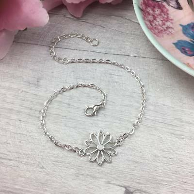 Silver Flower ANKLET Floral Ankle Bracelet Chain DAINTY Pretty SUMMER Jewellery
