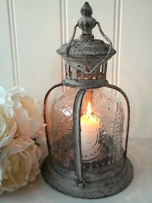 Vintage Style French Grey Metal Lantern Candle Holder Rustic Country Style New