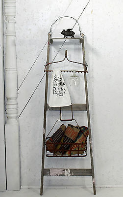 "Antique Ladder Handy Man Storage Shelf 58"" w/ Vintage Rake & Dangling Basket"