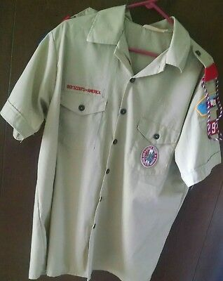 Bsa Boy Scouts Of America Tan Uniform Shirt Size Mens Large  16-26 1/2