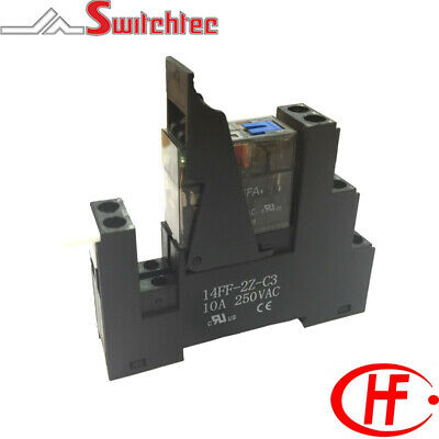 Single Pole 16A Din Rail Mount Relay Module 24Vac & Test, Flag & Led