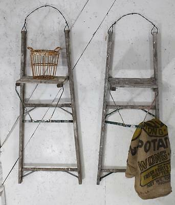 """40"""" tall Rustic Antique Ladder Wall Shelf - Step Ladder Shelving for Display"""