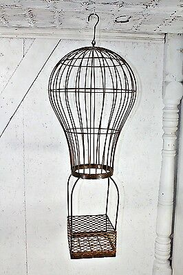 Wrought Iron Lg Hot Air Balloon Basket Decorative Container