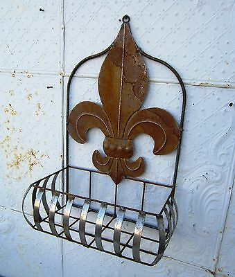 "27"" Wrought Iron Fleur Di Lis Half Wall Basket Flower Planter Pot Holder"