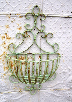 "Wrought Iron Small 28"" Susanne Wall Basket - Flower Planter Pot Holder"
