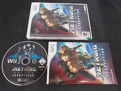 Nintendo Wii Pal Game METROID PRIME 3: CORRUPTION with Box Instructions