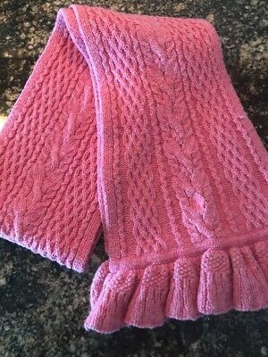 Authentic Polo Ralph Lauren Girls Pink Cable Knit Scarf Super Cute