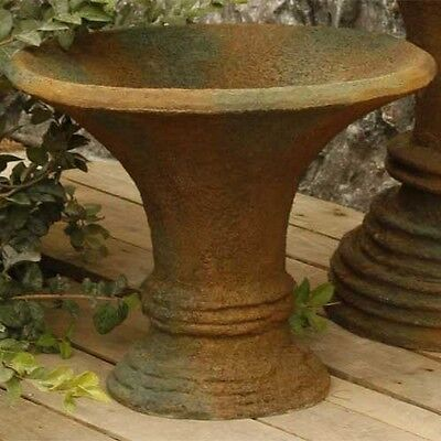"16"" Sm Horn Planter Urn, Folk Art Statuary, Durable Fiberstone Yard Art"