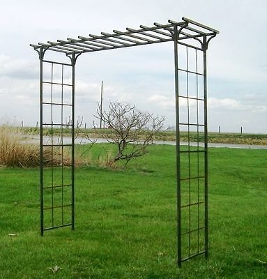 "92"" wide x 101.5"" tall Mission Arbor - Great Metal Garden Arch Trellis - Flowers"