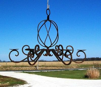 Rustic Wrought Iron Saint Augustine Candle Chandelier - Lots of Colors