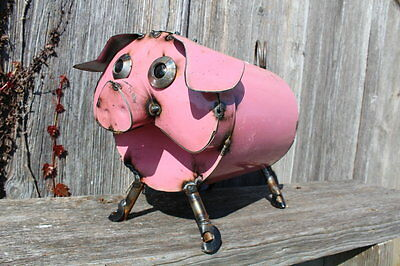 """11"""" Recycled Metal Soup Can Pig Animal Yard Decor Swine Lawn Accent"""