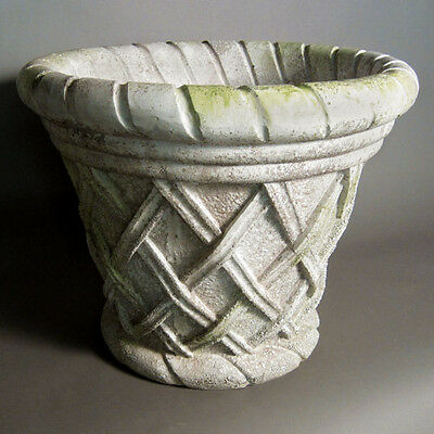 "23"" Basket Weave Planter Urn - Folk Art Statuary - Durable Fiberstone Yard Art"