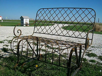 Wrought Iron Front Porch Bench, Metal Several colors - great bench in the garden
