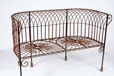 Wrought Iron Garden Cathedral Bench, Solid Metal Seating