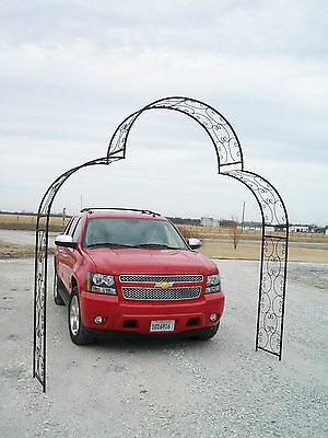 Extra Wide Shell Arch Top Driveway Arbor Wrought Iron Metal - Yard Art