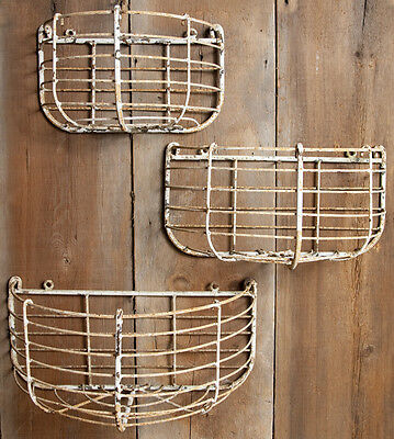 Rustic Wrought Iron Large Half Round  Half Wall Basket -  Flower Planter