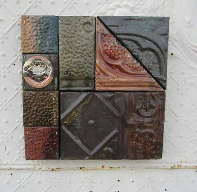 "12"" Pieced Square  Antique Ceiling Tin Wall Art by Lori Daniels Muted Colors"