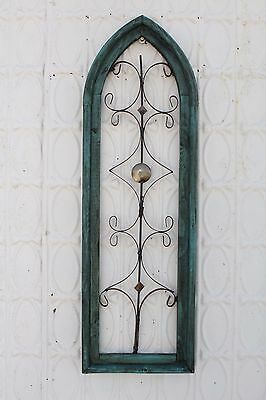 "32"" Vintage Wood and Iron Cathedral Wall Art  Hanging Wall Decor"
