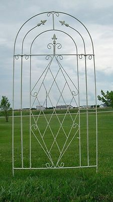 Wrought Iron Large Triple Finial Trellis - Metal Support For Vines & Flowers