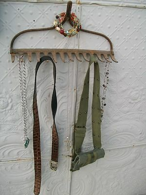 Antique Metal Garden Rake Great Hook - Hanging Collectibles Towel Rack