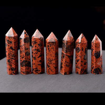 100% Natural Red Obsidian Quartz Crystal Stone Point Healing Hexagonal Wand