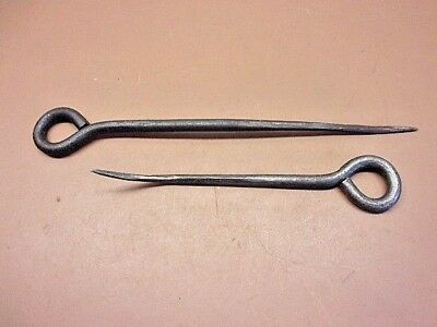 "Vtg Pair of Hand Forged Offset Iron Picks 8 1/4"" & 11 3/4"" Long Nice Old Pair!"