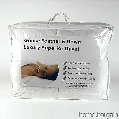 40% Down Luxury Goose Feather Duvet (Quilt) - 4.5 10.5 13.5 15tog
