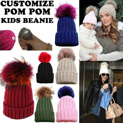Kids Detachable Coloured Faux Fur Pom Pom Knitted Winter Beanie Hat 4-13 Years