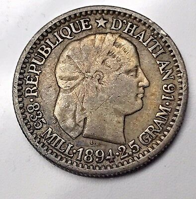 1894 Haiti Silver Dime - 10 Centimes - Circulated - Rare with Great Details