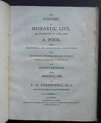 T. D. Fosbrooke, The Economy of Monastic Life, 1st Edn 1795, Rare, complete