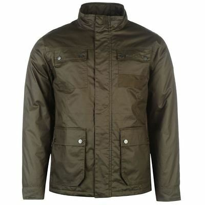 Pierre Cardin Waxed Jacket Mens Khaki Jackets Coats Outerwear