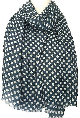 Blue Polka Dot Scarf White Polka Dots Ladies Wrap Womens Dotty Spotted Shawl