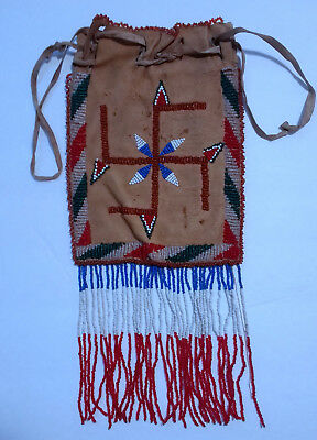 Antique Native American Indian Apache Woman's Beaded Dice Bag Whirling Log
