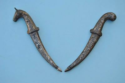 Indo Persian Mughal Islamic Silver Damascened Damascus Small Child Dagger 2Pcs