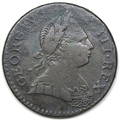 1774 Contemporary Non-Regal Great Britain Halfpenny, VF+ detail