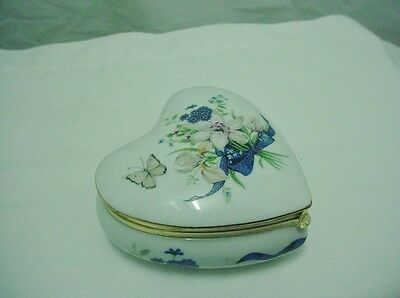 "Schmid Porcelain Heart Shaped ""Lily Spray"" Music Box"