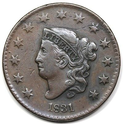 1831 Coronet Head Large Cent, Medium Letters, VF detail