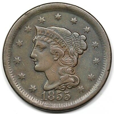 1855 Braided Hair Large Cent, Upright 5's, VF-XF